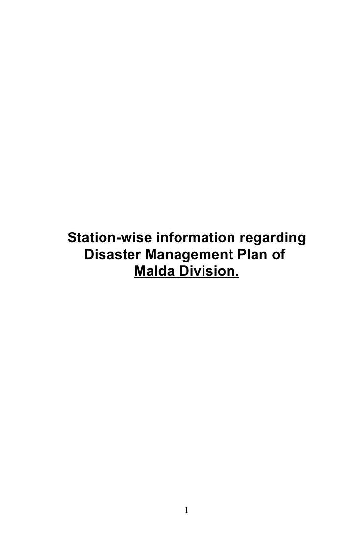 Station-wise information regarding   Disaster Management Plan of           Malda Division.                     1