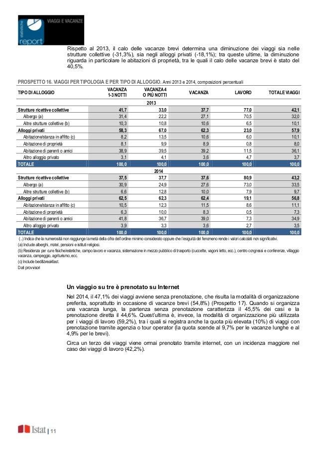   11 Rispetto al 2013, il calo delle vacanze brevi determina una diminuzione dei viaggi sia nelle strutture collettive (-3...