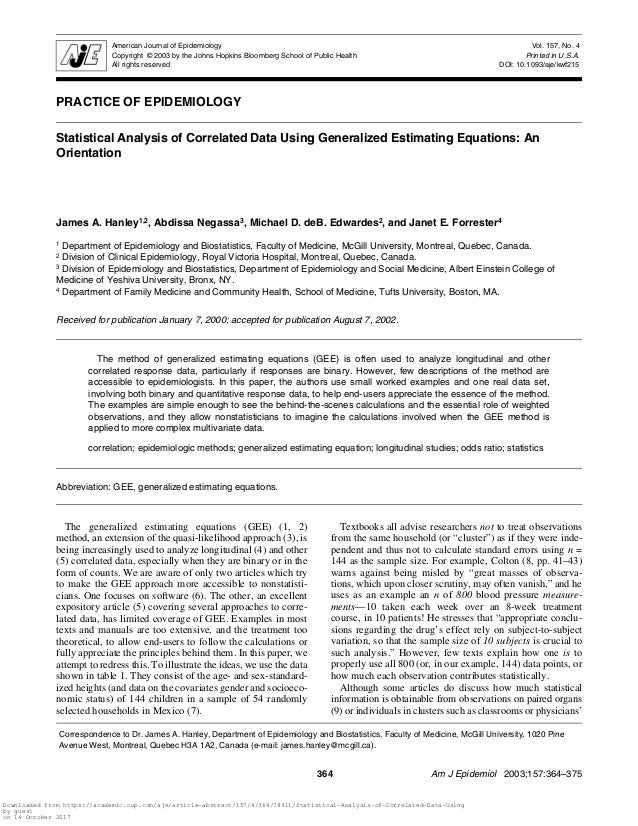Statistical analysis of correlated data using generalized