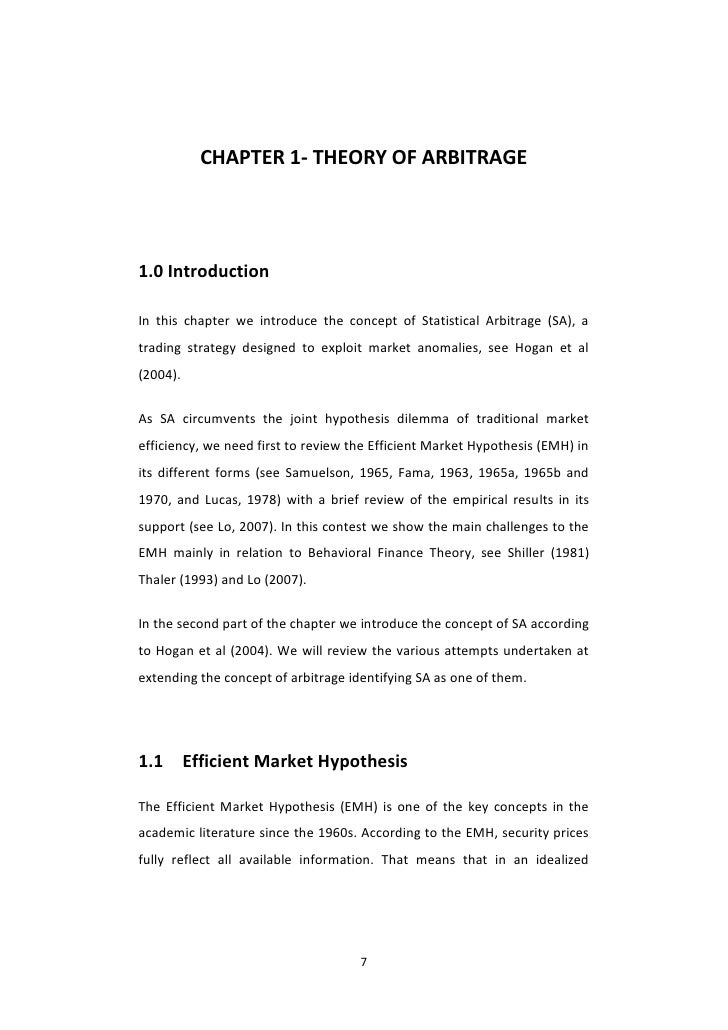 four essays in statistical arbitrage in equity markets Under a minimal no-arbitrage condition we provide necessary and sufficient conditions for market viability in terms of the market price of risk process and martingale deflators claudio (2012) four essays in financial mathematics [tesi di dottorato] full text disponibile come: anteprima.