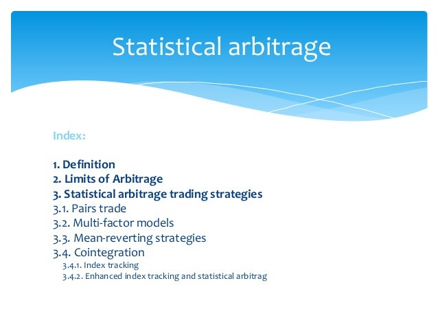 Statistical arbitrage trading strategy