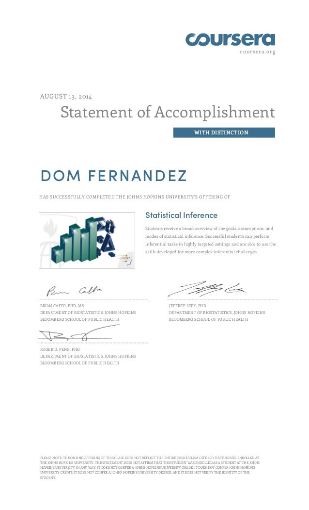 coursera.org Statement of Accomplishment WITH DISTINCTION AUGUST 13, 2014 DOM FERNANDEZ HAS SUCCESSFULLY COMPLETED THE JOH...