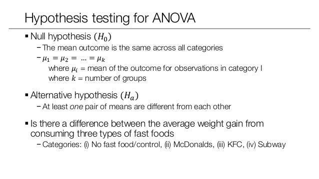 how to write a null hypothesis for anova