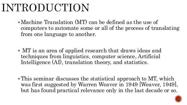 statistical machine translation