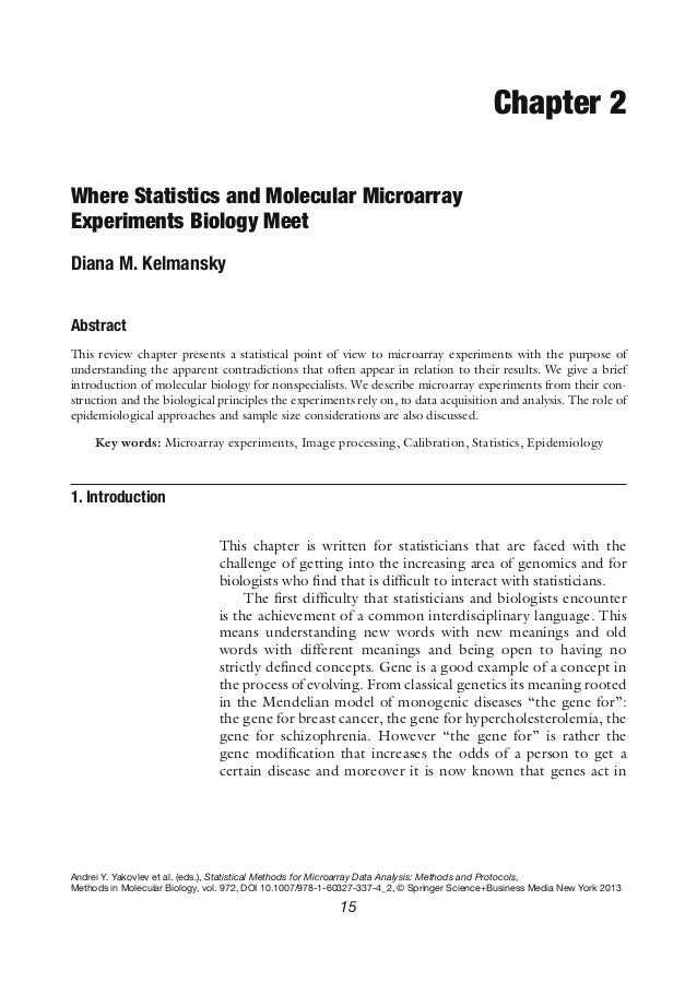 Chapter 2Where Statistics and Molecular MicroarrayExperiments Biology MeetDiana M. KelmanskyAbstractThis review chapter pr...