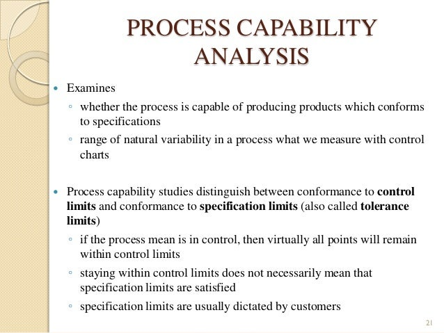 process capability and statistical process control In this context, process capability indices (pci) reveal the process zones base on specification limits (sls) most of the research on control charts assumed certain data however, to measure quality characteristic, practitioners sometimes face with uncertain and linguistic variables fuzzy theory is one of the most applicable.