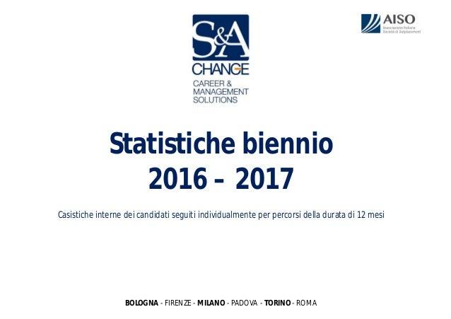 Statistiche biennio 2016 – 2017 Casistiche interne dei candidati seguiti individualmente per percorsi della durata di 12 m...