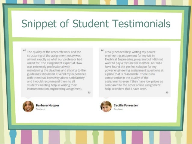 Snippet of Student Testimonials