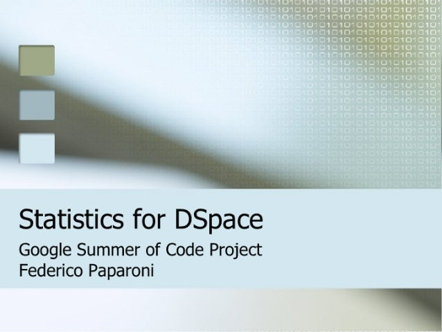 Statistics for DSpace at DSUG 2007