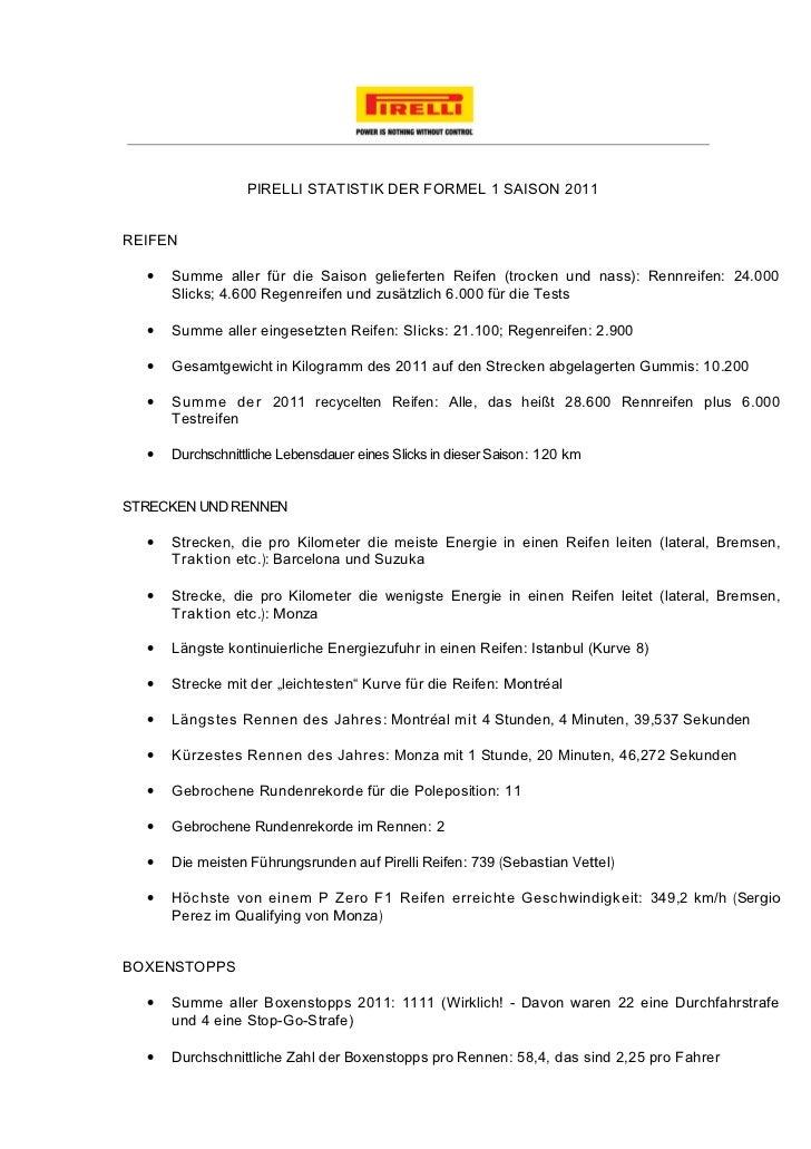 PIRELLI STATISTIK DER FORMEL 1 SAISON 2011REIFEN  •   Summe aller für die Saison gelieferten Reifen (trocken und nass): Re...