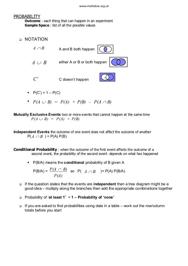 Statistics 1 revision notes