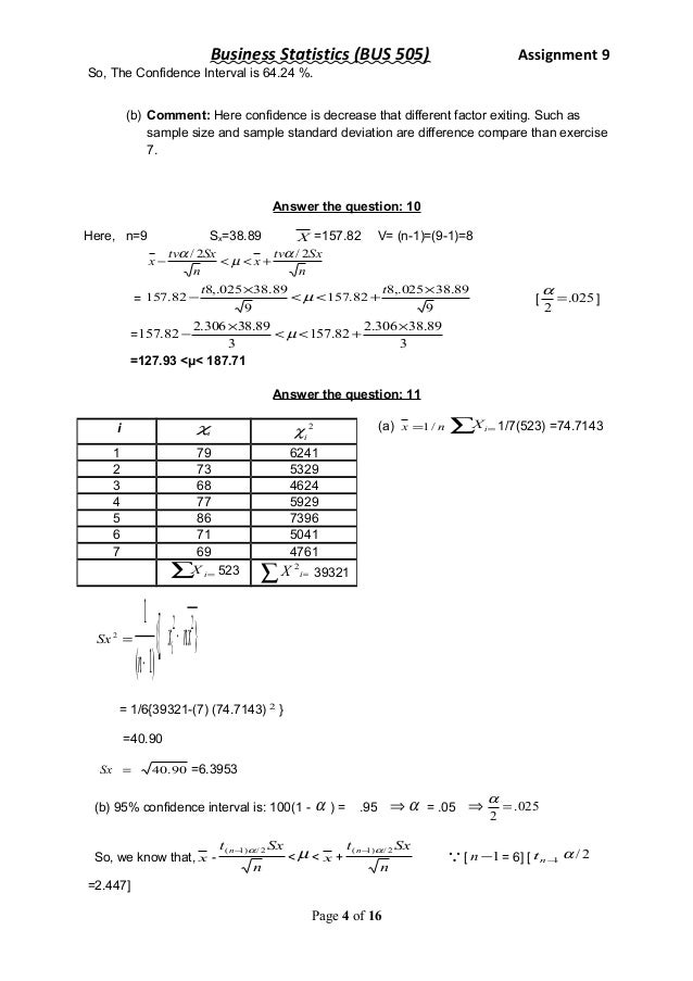 Help with business statistics homework
