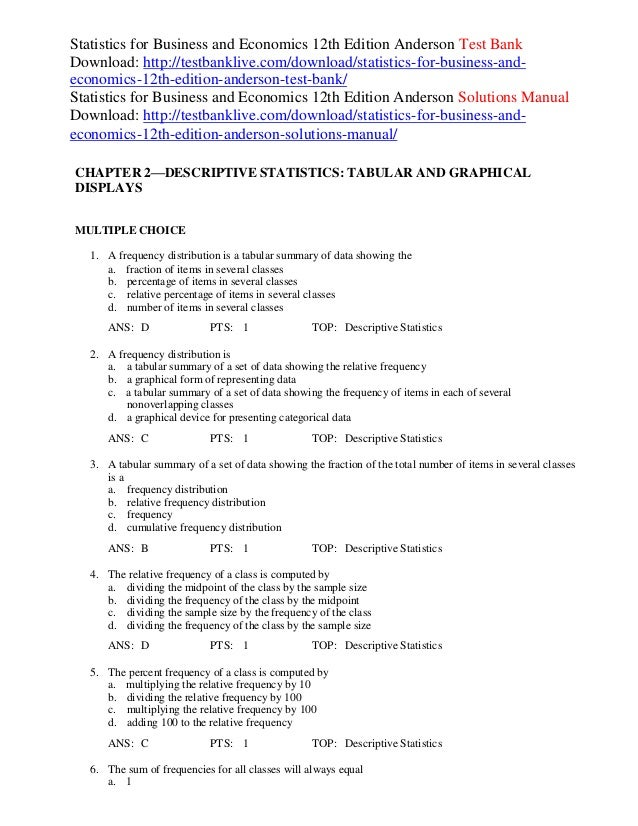 Statistics for business and economics 12th edition anderson test bank statistics for business and economics 12th edition anderson test bank download http fandeluxe Images