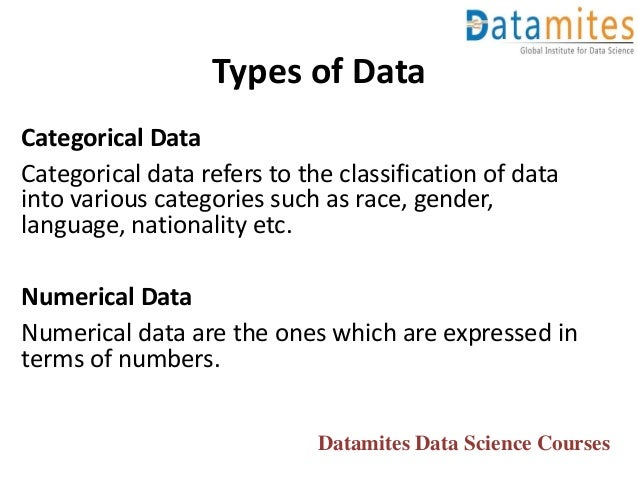 Categorical Data Categorical data refers to the classification of data into various categories such as race, gender, langu...
