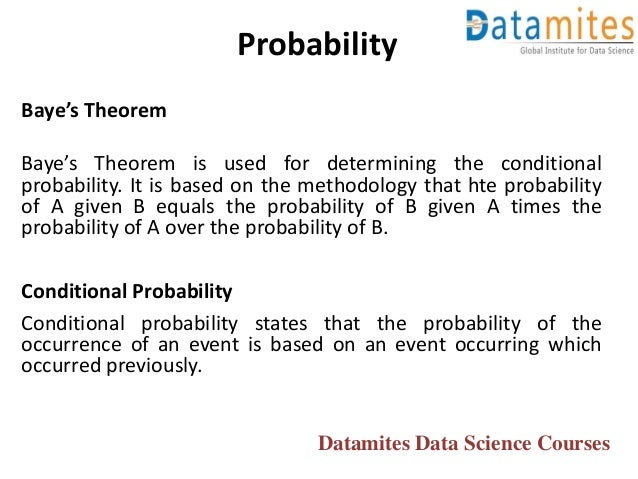 Baye's Theorem Baye's Theorem is used for determining the conditional probability. It is based on the methodology that hte...