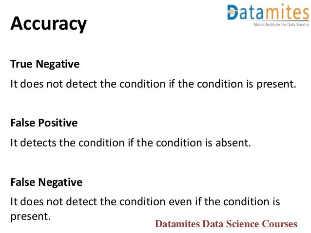 Accuracy True Negative It does not detect the condition if the condition is present. False Positive It detects the conditi...