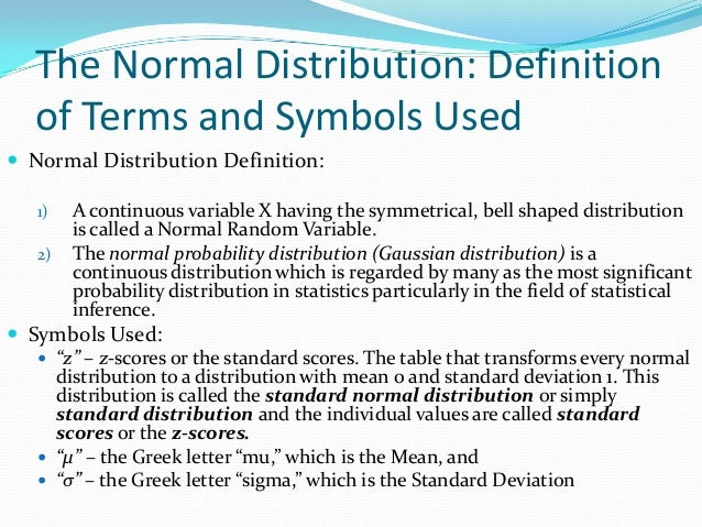 Statistics Normal Distribution