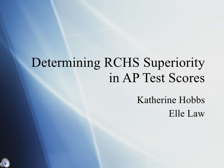 Determining RCHS Superiority in AP Test Scores Katherine Hobbs Elle Law
