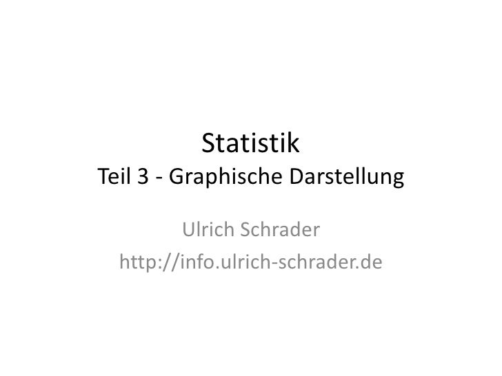 Statistik Teil 3 - Graphische Darstellung           Ulrich Schrader   http://info.ulrich-schrader.de