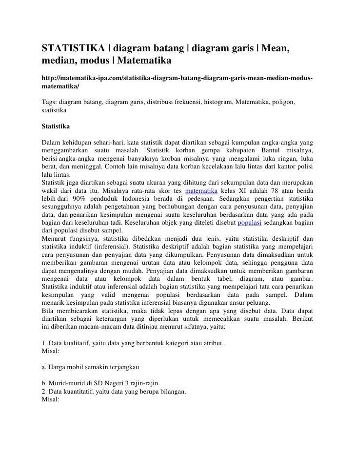 STATISTIKA | diagram batang | diagram garis | Mean,median, modus | Matematikahttp://matematika-ipa.com/statistika-diagram-...