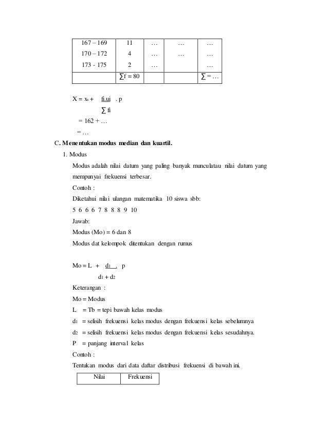 167 – 169 170 – 172 173 - 175 11 4 2 … … … … … … … … ∑f = 80 ∑ = … X = xs + fi.ui . p ∑ fi = 162 + … = … C. Menentukan mod...