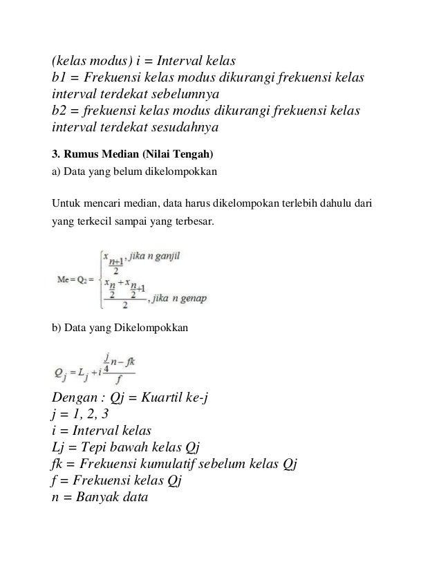 (kelas modus) i = Interval kelas b1 = Frekuensi kelas modus dikurangi frekuensi kelas interval terdekat sebelumnya b2 = fr...