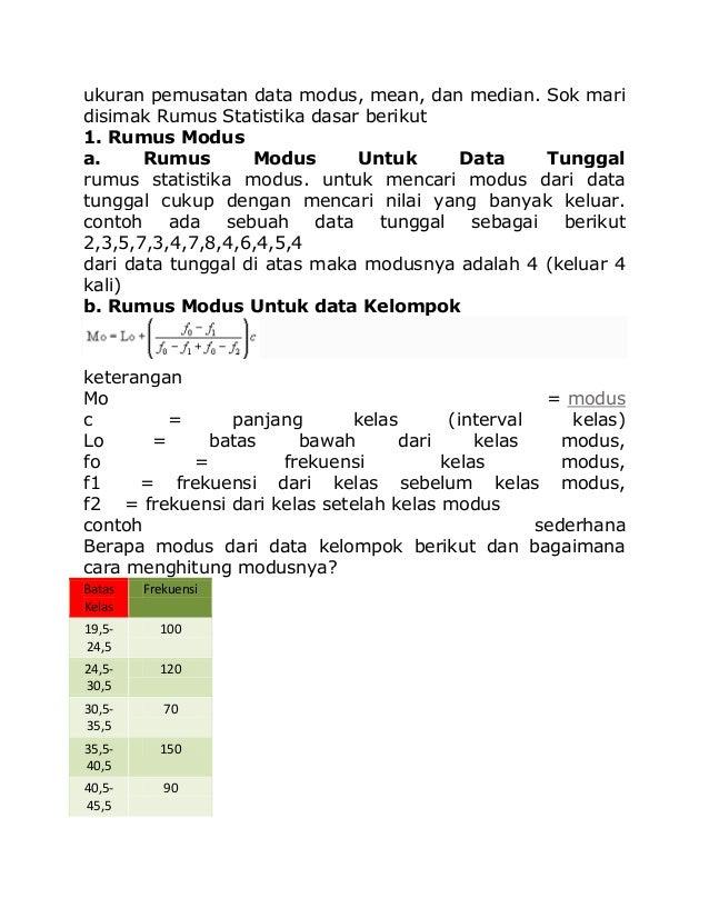 ukuran pemusatan data modus, mean, dan median. Sok mari disimak Rumus Statistika dasar berikut 1. Rumus Modus a. Rumus Mod...