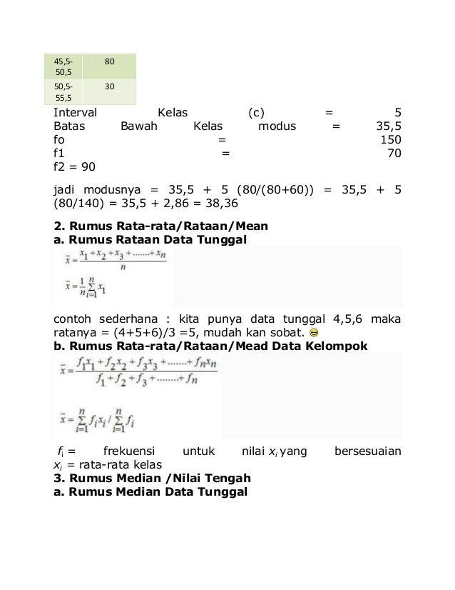45,5- 50,5 80 50,5- 55,5 30 Interval Kelas (c) = 5 Batas Bawah Kelas modus = 35,5 fo = 150 f1 = 70 f2 = 90 jadi modusnya =...