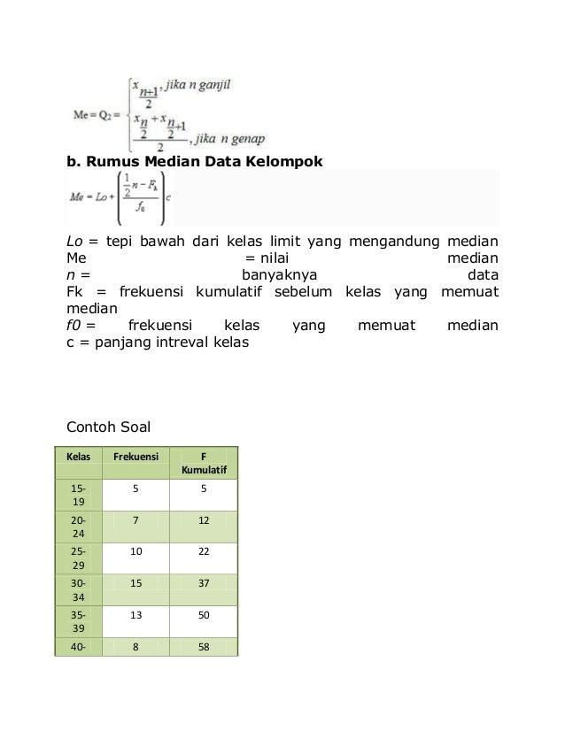 b. Rumus Median Data Kelompok Lo = tepi bawah dari kelas limit yang mengandung median Me = nilai median n = banyaknya data...