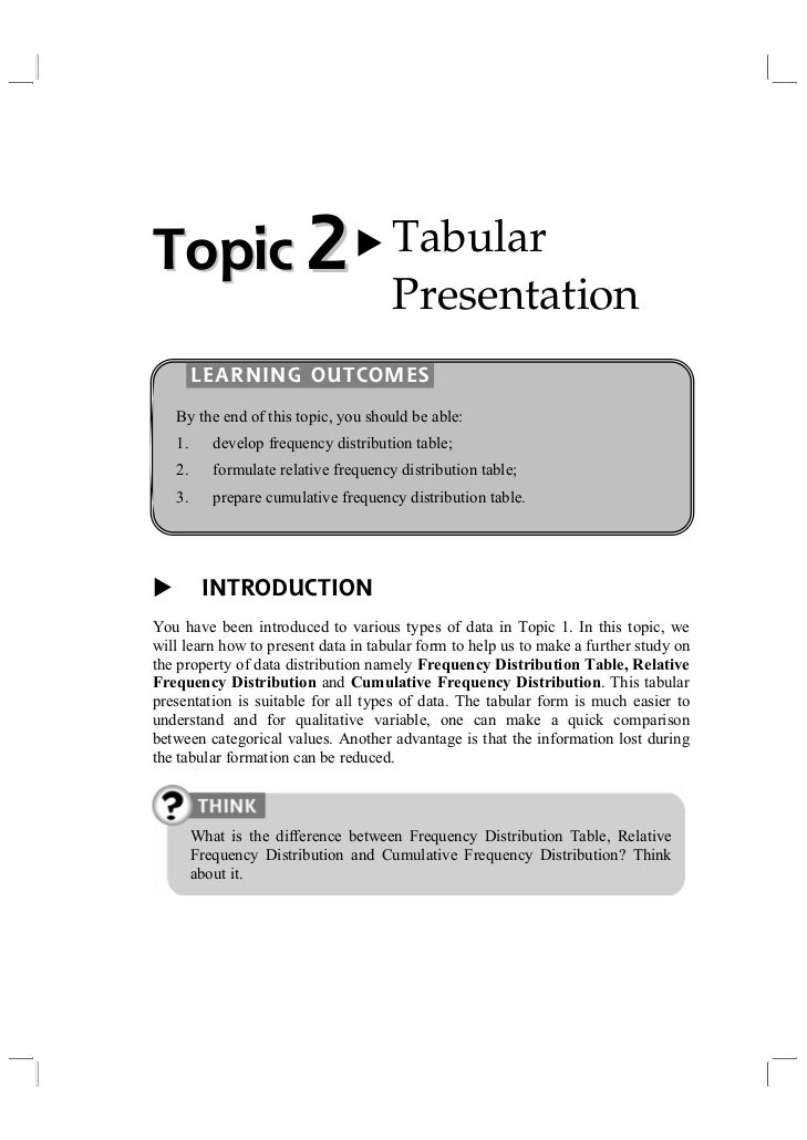 Topic 2                                Tabular                                       Presentation        LEARNING OUTCOMES...