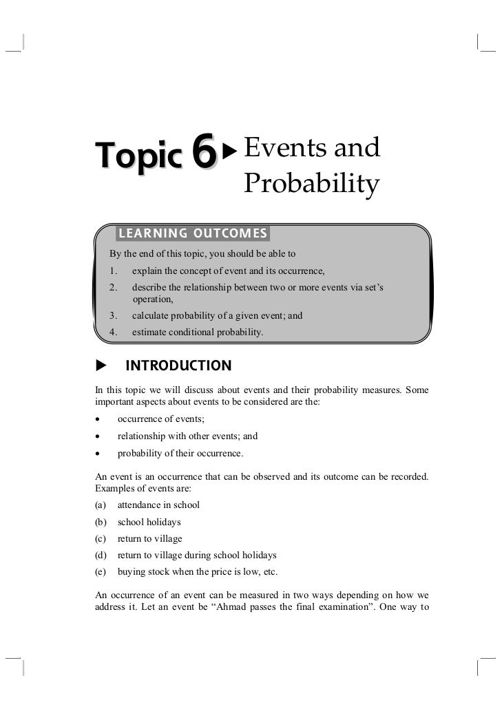 Topic 6                                       Events and                                              Probability         ...