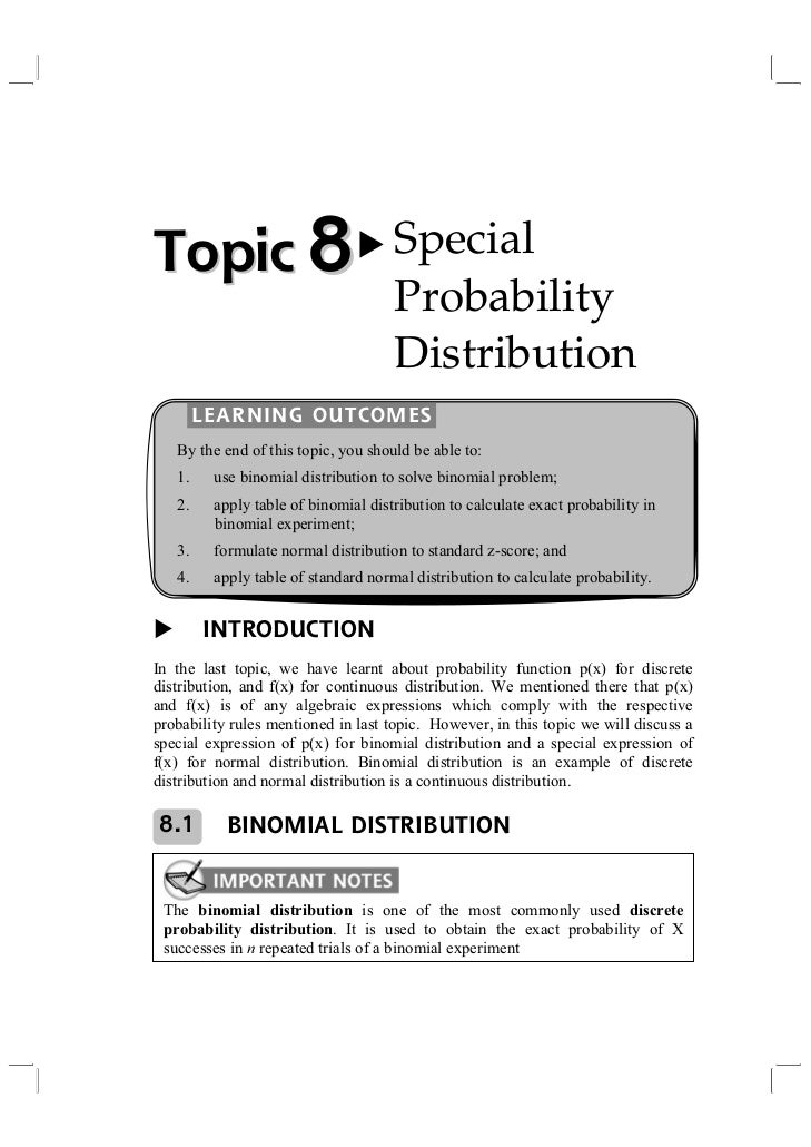 Topic 8                              Special                                     Probability                              ...