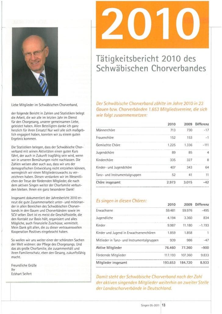 Statistik, Tätigkeitsbericht 2010