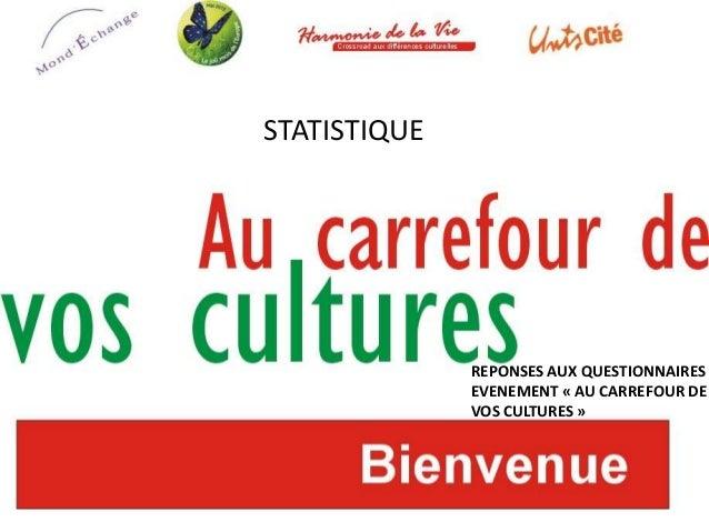 STATISTIQUEREPONSES AUX QUESTIONNAIRESEVENEMENT « AU CARREFOUR DEVOS CULTURES »