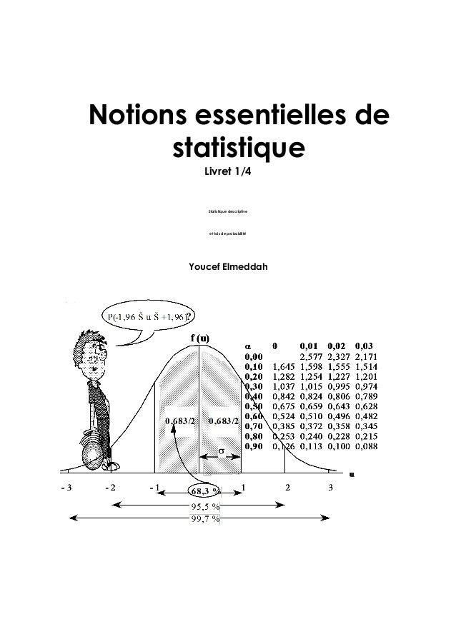 Notions essentielles de statistique Livret 1/4 Statistique descriptive et lois de probabilité Youcef Elmeddah