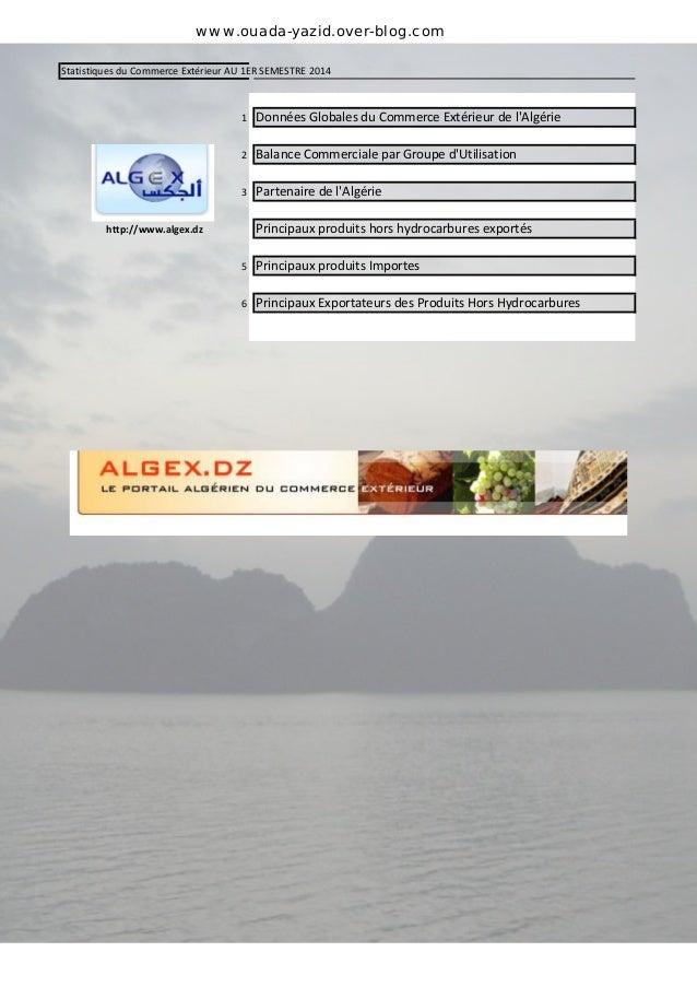 www.ouada-yazid.over-blog.com  Statistiques du Commerce Extérieur AU 1ER SEMESTRE 2014  1 Données Globales du Commerce Ext...