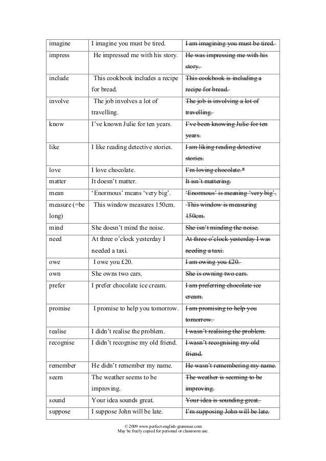 Stative verbs-list Slide 2