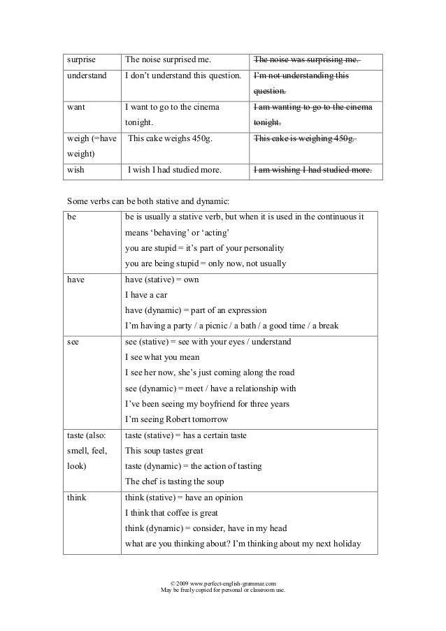 Stative verbs-list Slide 3