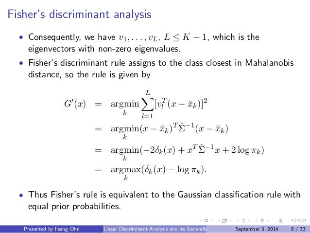 discriminate analysis Discriminant analysis is a statistical tool to assess the adequacy of a classification discriminant analysis is also used to separate two groups.