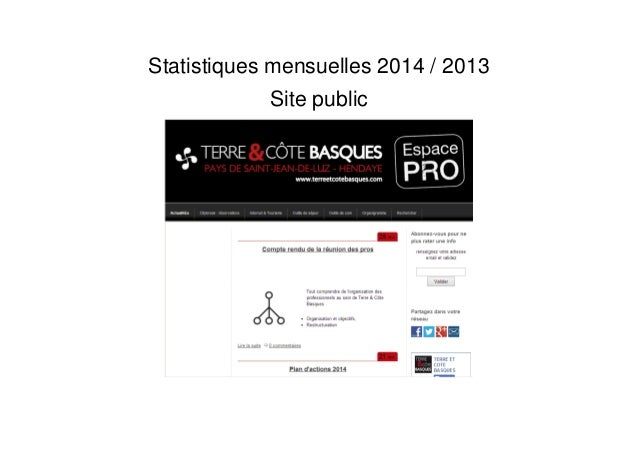 Statistiques mensuelles 2014 / 2013 Site public