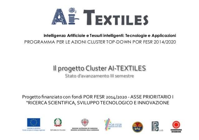 Intelligenza Artificiale e Tessuti intelligenti: Tecnologie e Applicazioni PROGRAMMA PER LE AZIONI CLUSTER TOP-DOWN POR FE...