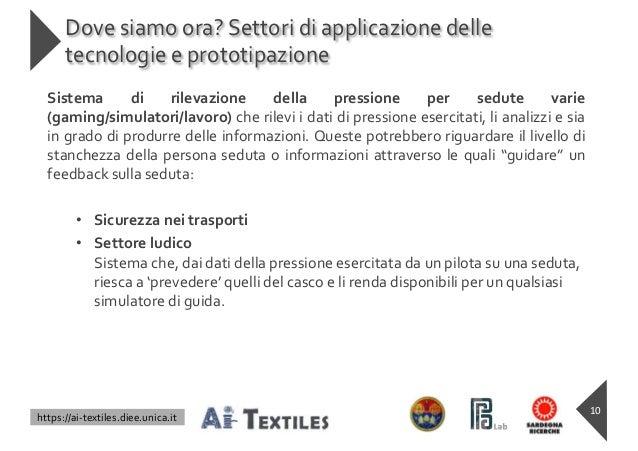 https://ai-textiles.diee.unica.it Dove siamo ora? Settori di applicazione delle tecnologie e prototipazione Sistema di ril...