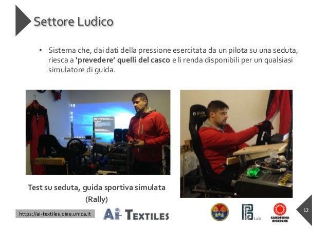 https://ai-textiles.diee.unica.it Settore Ludico • Sistema che, dai dati della pressione esercitata da un pilota su una se...