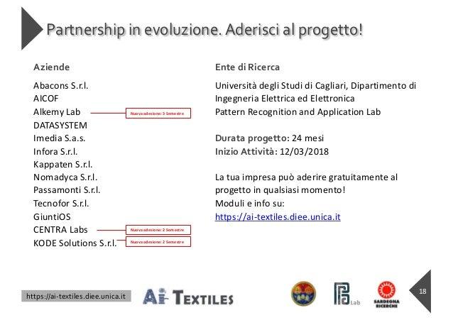 https://ai-textiles.diee.unica.it Partnership in evoluzione.Aderisci al progetto! 18 Aziende Ente di Ricerca Abacons S.r.l...