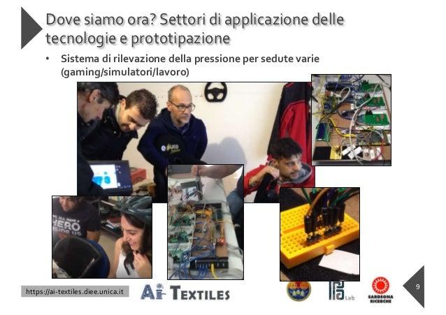 https://ai-textiles.diee.unica.it Dove siamo ora? Settori di applicazione delle tecnologie e prototipazione 9 • Sistema di...