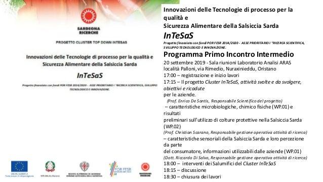 Innovazioni delle Tecnologie di processo per la qualità e Sicurezza Alimentare della Salsiccia Sarda InTeSaS Progetto fina...