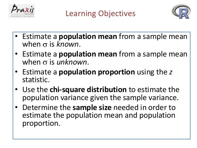 Learning Objectives • Estimate a population mean from a sample mean when is known. • Estimate a population mean from a sam...