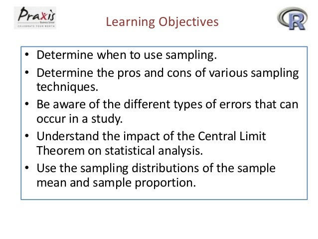 Learning Objectives • Determine when to use sampling. • Determine the pros and cons of various sampling techniques. • Be a...