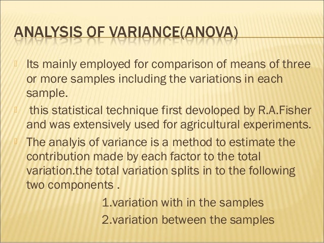 anova research paper Understanding analysis of covariance (ancova) in general, research is conducted for the purpose of explaining the effects of the independent variable on the dependent variable, and the purpose of research design is to provide a structure.