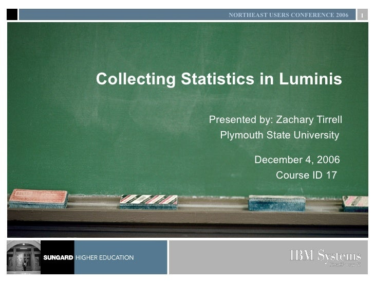 Collecting Statistics in Luminis Presented by: Zachary Tirrell Plymouth State University  December 4, 2006 Course ID 17